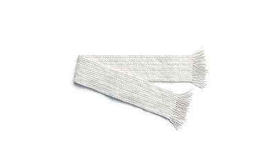 Blank white knitted scarf folded mock up, isolated, 3d rendering. Empty winter or autumn accessory mockup, top view. Clear soft neckerchief for print design template.