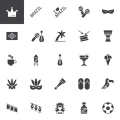 Brazilian Carnival vector icons set, modern solid symbol collection, filled style pictogram pack. Signs, logo illustration. Set includes icons as Flag of Brazil, Buffon, Mask, Christ redeemer, Drum