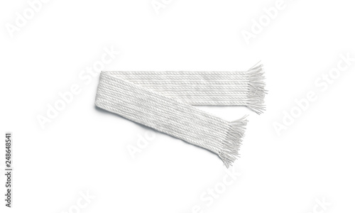 Blank white knitted scarf folded mock up, isolated, 3d