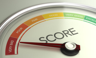 Fototapeta Business Credit Score Gauge Concept, Very Bad Grade.