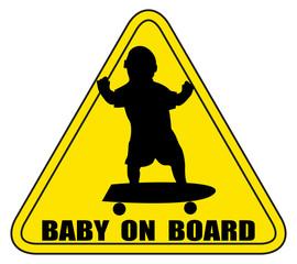 Baby On Board Skateboard Silhouette Sign