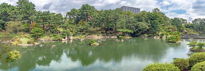 広島 縮景園のパノラマ風景