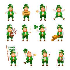 Set of funny Irish fantastic character, leprechaun in different poses.