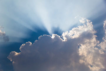 the sun shines out of the clouds.