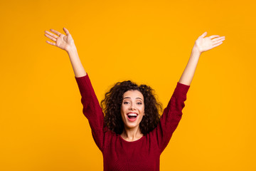 Close up photo amazing beautiful her she lady raised hands palms in air all possible just keep believe wearing red knitted sweater pullover clothes outfit isolated yellow background