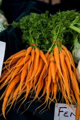 Fresh organic carrots at farmers market