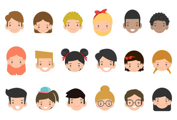 Avatars collection of cute kids. Vector illustration of different nationalities children's , Cartoon child avatar set. Cute diverse kids faces, vector clip art illustration.