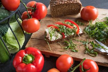 Vegetables and full grain bread