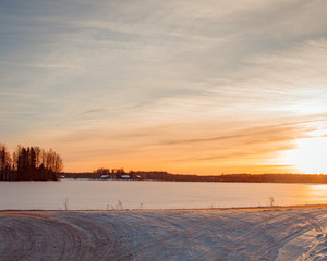 Sunset on a snowy view