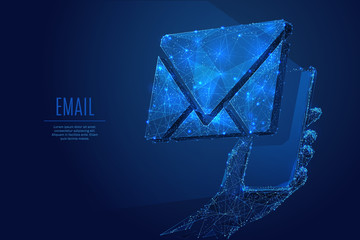 email on smartphone low poly blue