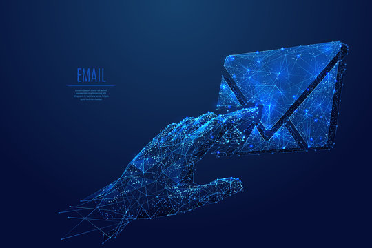 touch on email low poly blue