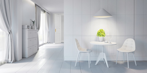 Modern bright interior with chairs and table