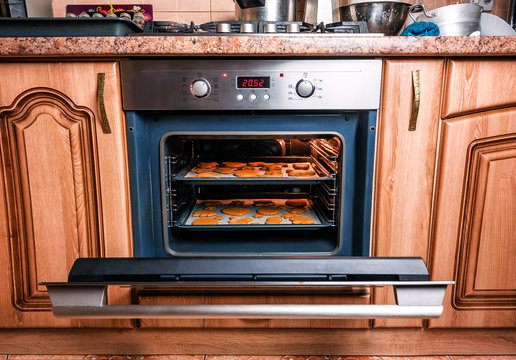 gingerbread cookies in the oven