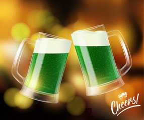 Two mugs with green beer, clinking glasses, St. Patrick day symbol