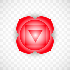 Root chakra Muladhara in red color isolated on transparent background. Isoteric flat icon. Geometric pattern.