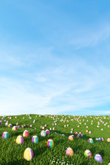 Colorful easter eggs in front of heaven for easter