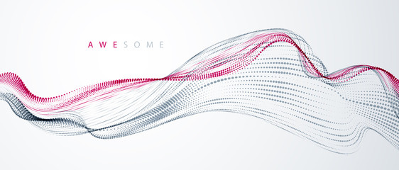 Poster Abstract wave Dynamic particles sound wave flowing. Dotted curves vector abstract background. Beautiful 3d wave shaped array of blended points.