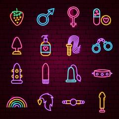 Sex Toys Neon Icons