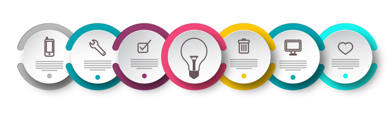 Seven Steps Infographic Design with Icons on Circle Labels, Sample Text and Lightbulb. Data Flow Chart Vector Layout.