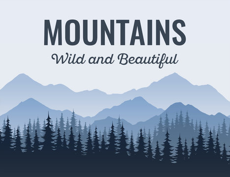 Poster with Mountains, Scenic landscape with caption