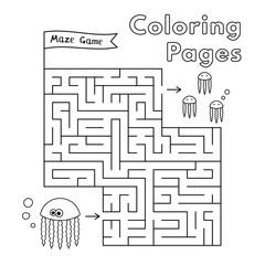 Cartoon Jellyfish Coloring Book Maze Game