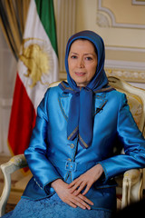 Maryam Rajavi, president-elect of the National Council of Resistance of Iran and the leader of the People's Mujahedin of Iran, attends an interview with Reuters in Auvers-sur-Oise