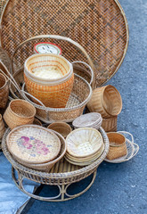 Bamboo wickerwork products on the street.