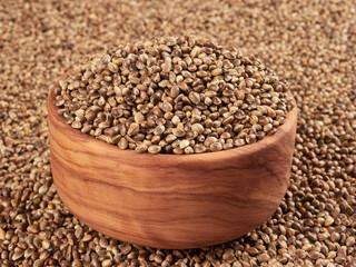 Bowl of hemp seeds. Bird food.