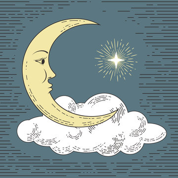 Colored hand drawn moon with cloud and star. Stylized as engraving. Vector