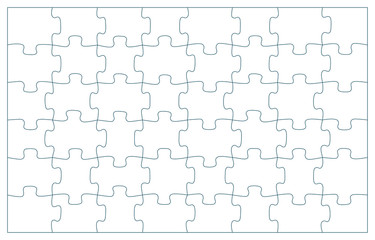 48 puzzle pieces vector illustration. 6 x 8 jigsaw game outline pieces picture