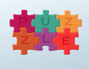 6 Bright colorful puzzle pieces vector illustration. 2 x 3 jigsaw game outline picture