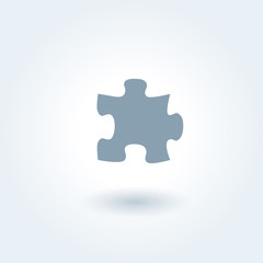 Single grey puzzle piece vector illustration. 1 jigsaw part outlined picture