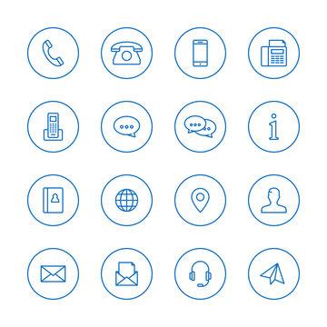 Kontakt Icon Sammlung bestehend aus Linien