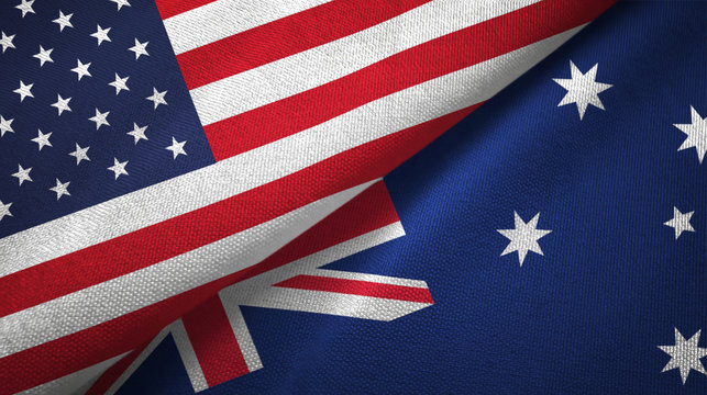 United States and Australia two flags textile cloth, fabric texture