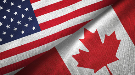 United States and Canada two flags textile cloth, fabric texture Fotobehang