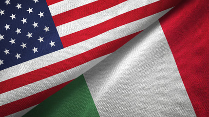 United States and Italy two flags textile cloth, fabric texture