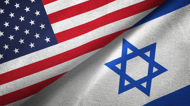 United States and Israel two flags textile cloth, fabric texture