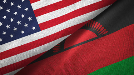 United States and Malawi two flags textile cloth, fabric texture