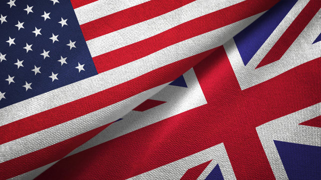 United States and United Kingdom two flags textile cloth, fabric texture