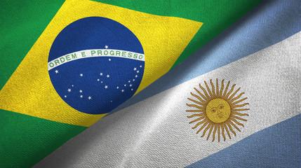 Photo sur Toile Brésil Argentina and Brazil two flags textile cloth fabric texture