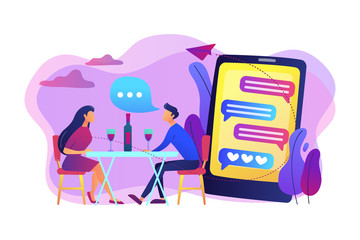 Man and woman using online dating app on smartphone and meeting at table, tiny people. Blind date, speed dating, online dating service concept. Bright vibrant violet vector isolated illustration