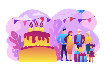 Parents, grandparents and children with presents at big cake with celebrating, tiny people. Family tradition, family reunion, home party concept. Bright vibrant violet vector isolated illustration