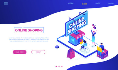 Online shopping - modern colorful isometric vector web banner