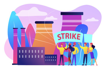 Tiny people crowd of workers hold plackards and fight for rights at factory. Strike action, labor movement strike, employees work stoppage concept. Bright vibrant violet vector isolated illustration