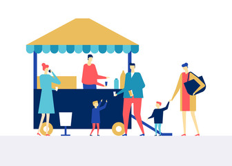 Street food festival - flat design style colorful illustration
