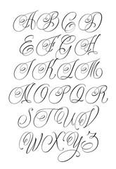 Updated handwritten chicano Script font. Hand drawn popular tattoo style calligraphy cursive typeface. Vector Brush type set.