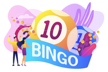 Businessman and woman winners and bingo lottery balls with lucky numbers, tiny people. Lottery money game, lucky raffle ticket, bingo game concept. Bright vibrant violet vector isolated illustration