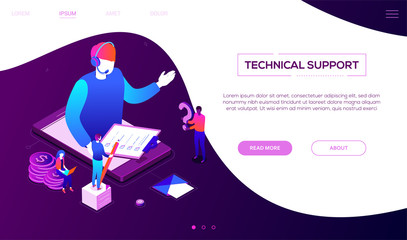 Technical support - colorful isometric vector web banner