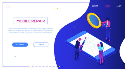Mobile repair service - modern colorful isometric vector web banner