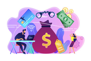 Hacker at laptop commiting financial fraud and stealing huge bag with money. Financial crime, money laundering, black market goods concept. Bright vibrant violet vector isolated illustration